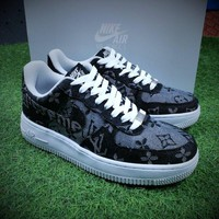 Best Online Sale Newest Louis vuitton LV x Supreme x Nike Air Force 1 One DenimLV Black Sport Shoes AA5360-086