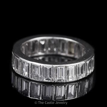 Platinum 4cttw Emerald Cut Diamond Eternity Band