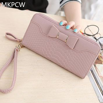 New Hot Sale Interior Slot Pocket Note Compartment Zipper 2017 Fashionable For Grain Women's Large Capacity Single Wallet Bag
