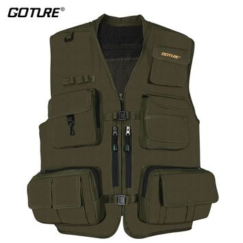 Goture Black/Dark Green Durable Outdoor Fishing Vest Multifunction Life Jacket Waistcoat For Men Lure Fishing Size X XL XXL
