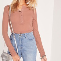 Missguided - Popper Front Top Nude