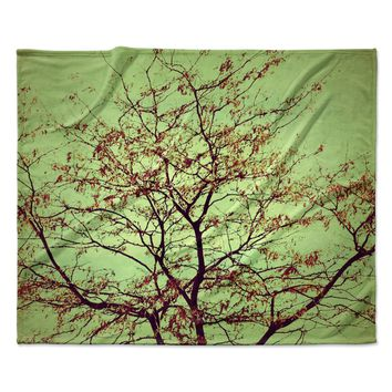 "Sylvia Coomes ""Modern Fall Tree"" Green Brown Fleece Throw Blanket"