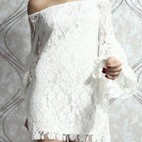 Boat Neck Off-The-Shoulder Trumpet Sleeve Mini Lace Dress