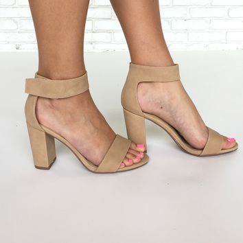 Elton Open Toe Heels In Nude