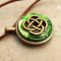 celtic knot necklace: green - celtic jewelry - leather cord - irish jewelry - unique jewelry - endless knot - mystic knot - womens necklace