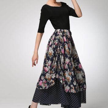 Maxi chiffon skirt long women summer skirt (1293)