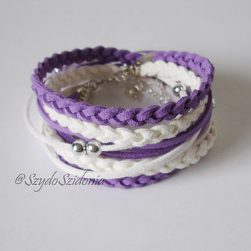 Purple Suede Cord Wrap Bracelet,WIth Silver Accents,Handmade Jewelry