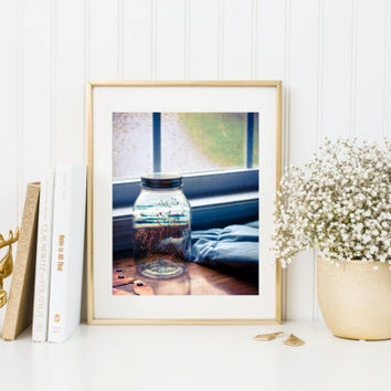 Surreal photography print, fine art, summer in a mason jar, wildflowers on beach, original unique eclectic wall art home decor, window seat