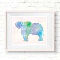 Watercolor Elephant Nursery Print, Printable Safari Decor, Colorful Elephant Poster, Jungle Animal Wall Art, Watercolor Animal Art Print