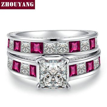 ac spbest Luxurious Princess Square-cut Clear & RoseRed Cubic Zirconia Silver Color Fashion Jewelry Ring Sets For Women Party ZYR632
