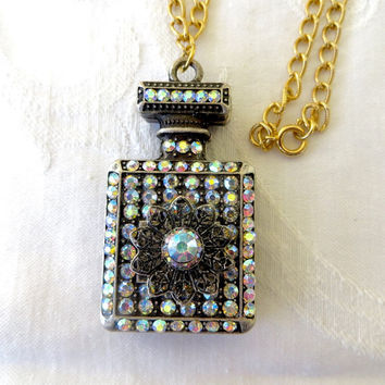"Vintage Perfume Bottle Necklace, Aurora Borealis Rhinestone and Filigree Metal , 24"" chain"