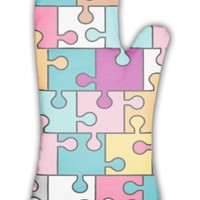 Oven Mitt, Colorful Puzzle Pattern