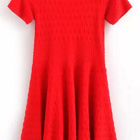 Red Ruffles Crochet Knit Dress