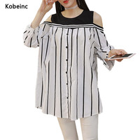 Fashion Striped Oversized Shirts For Pregnant Women Off Shoulder Maternity Blouse Three Quarter Sleeves Robe De Grossesse Tops