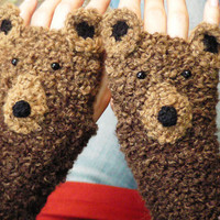 BEAR GLOVES FINGERLESS animal original design forest autumn woodland crochet mittens hand warmers kids adults free worldwide shipping