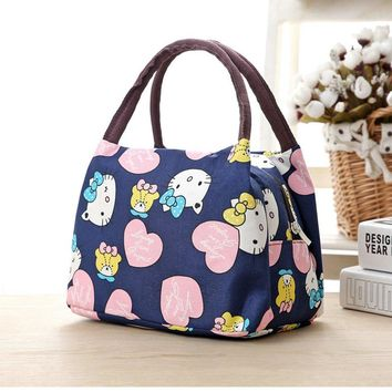 Leisure Cute Animal Hello Kitty Lunch Bag Girl Portable Insulated Cooler Bags Thermal Food Picnic Bags Women Kids Lunch Box Tote