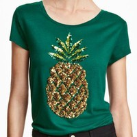 Plus Size Sequined Pineapple Solid Green T Shirt