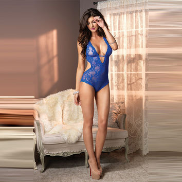 Hot Deal Cute On Sale Sexy Lace Deep V Backless Corset One-piece Blue Exotic Lingerie [6596515011]