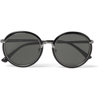Dries Van Noten - + Linda Farrow Round-Frame Gunmetal-Tone and Acetate Sunglasses