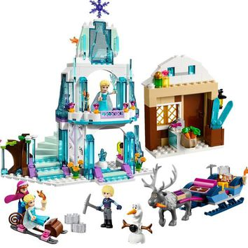 Princess Anna Elsa Snow Queen Elsa's Sparkling Ice Castle Building Blocks Brick Toys For Girls Compatible with Legoingly friends