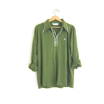 vintage green Penguin logo henley shirt. boyfriend long sleeve collared shirt / hipster clothing / size XL