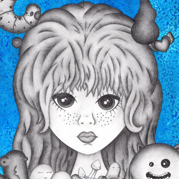 Anime Girl, Cute, Blythe, Original art, Illustration, Pencil drawing, Happy, Creatures, Lowbrow, Pop surrealist, Blue, Inked, Pullip, Doll