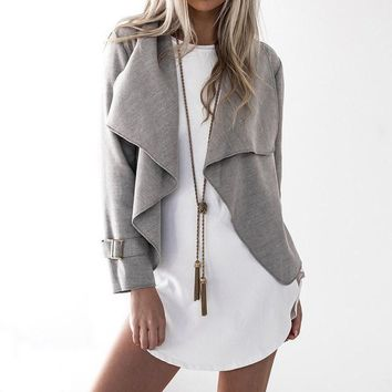 Women Waterfall Lapel Jackets Long Sleeve Cardigan