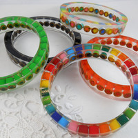 5 Custom Resin Bangle Bracelets - Colored Pencil, Teacher Gift, Upcycled, Artist, Crafter, Pencil, Rainbow, Multi Color