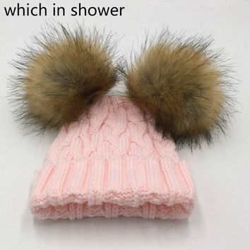 which in shower women girl double faux raccoon fur pompom winter hat cap two pom pom ball knitted cable family skullies beanies
