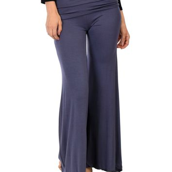 Lyss Loo Fold-Over Palazzo Charcoal Flare Pants
