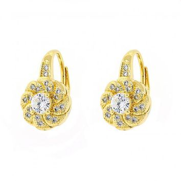 Gold Layered 02.195.0049 Leverback Earring, Flower Design, with White Cubic Zirconia and White Micro Pave, Polished Finish, Golden Tone
