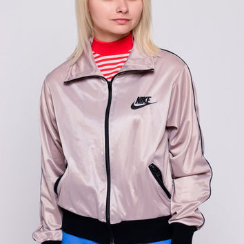 Nike Track Jacket 80s Striped Zip Up Swoosh Retro Mauve Black Shiny Jacket Athletic Hipster 1980s Vintage Sports Jacket Large