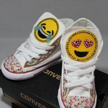CREYUG7 Girls Custom Bling Emoji Converse Sneakers-Emoji - Minnie Mouse- Hello Kitty- Frozen