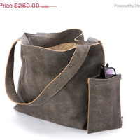 Gray leather tote bag - Soft leather bag - Shoulder bag - Zipper closure