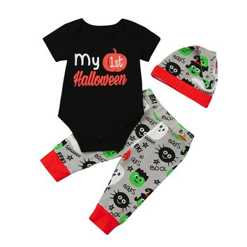 Baby Boys Girls Halloween Pumpkin Clothing Set Newborn Cotton 3Pcs Suit Romper+Pants+Cap Infant Pumpkin Jumpsuit