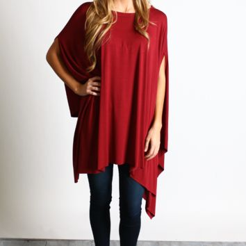 Wine Oversized Drape Tunic Top
