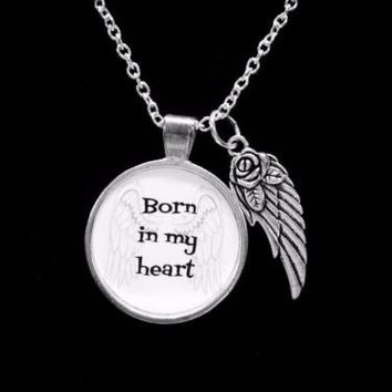 Born In My Heart Guardian Angel Wing Child Infant Loss In Memory Necklace