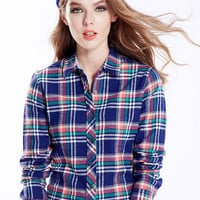 Dark Blue Plaid Print Long Sleeve Shirt Collar Blouse