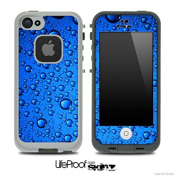 Glowing Blue Vivid RainDrops Pattern Skin for the iPhone 5 or 4/4s LifeProof Case