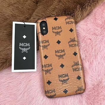 MCM Fashion Women Men Leather Simple Hard Mobile Phone Cover Case For iphone 6 6s 6plus 6s-plus 7 7plus iPhone8 iPhone X(8-Color) I12923-1