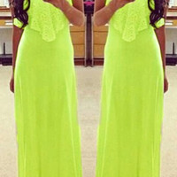 Green Spaghetti Strap Sleeveless Maxi Dress