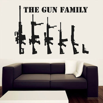 Wall Decal Vinyl Sticker Decals Art Decor Sign The Gun Family Collection Gift Mans Father Hunter Army Weapon Sniper Rifle Bedroom ( r567)