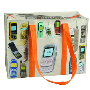 Cell Phones Shoulder Tote Bag in Recycled Material