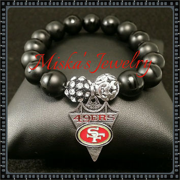 NFL Bracelet Unisex 12mm Black Onyx Gemstone/Beads w/ an Enamel San Francisco 49ers Charm and Alloy Spacer Beads