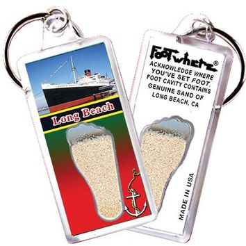 Long Beach FootWhere® Souvenir Key Chain. Made in USA