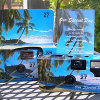 10 Pack Tropical/Beach Disposable Wedding Cameras in Matching Gift Boxes with Table Tents, 35mm, 27...