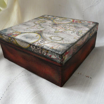 Jewelry Storage Wood Box, Old World Map Box, Map of the World Box, Wood Jewelry Box, Graduation Gift