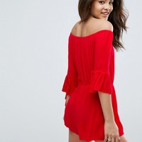 New Look Tall Flute Sleeve Playsuit at asos.com
