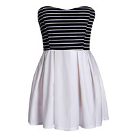Strapless Stripe Dress High Waist  Mini Dress