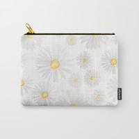 white daisy pattern watercolor Carry-All Pouch by Color and Color